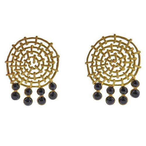 18K Gold Onyx Earrings