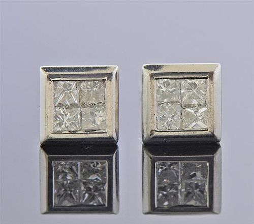 14k Gold Diamond Square Stud Earrings