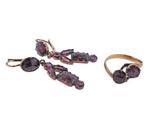 Antique 18k Rose Gold Garnet Amethyst Ring Earrings Set