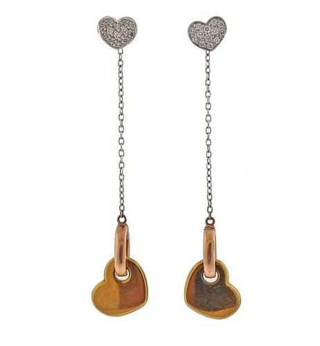 18K Gold Diamond Heart Day & Night Earrings