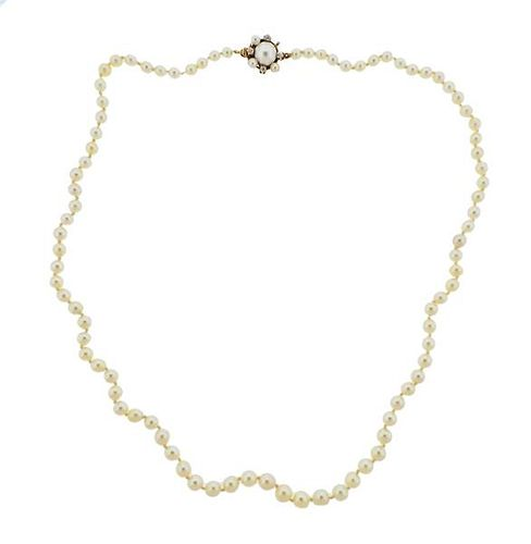 GIA Natural Cultured Pearl 14k Gold Diamond Necklace