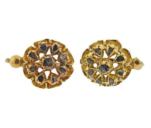 Antique 18K Gold Rose Cut Diamond Earrings