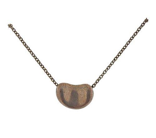 Tiffany & Co Peretti Silver Bean Pendant Necklace