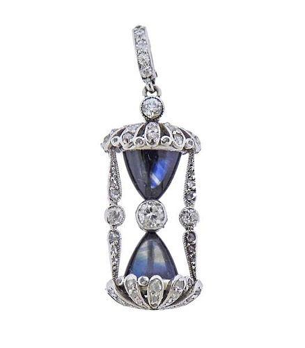 Cartier Platinum Diamond Hourglass Pendant Charm