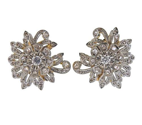 Mid Century 18K Gold Platinum Diamond Earrings