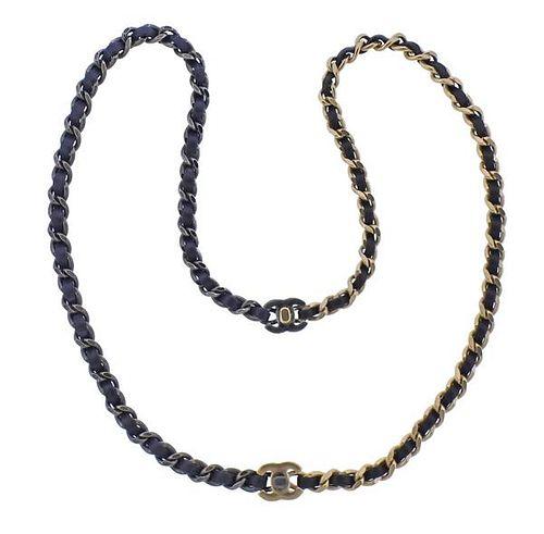 Chanel Black Blue Leather Interlocked Necklace Set