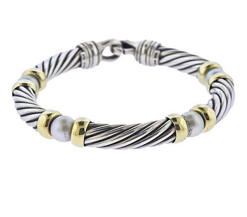 David Yurman  Silver 14K Gold Pearl Metro Cable Bracelet