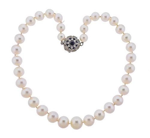 14K Gold Diamond Sapphire Pearl Necklace
