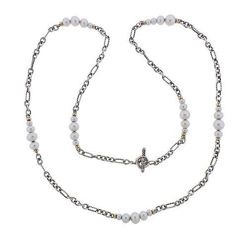 David Yurman Silver 18K Gold Pearl Toggle Necklace