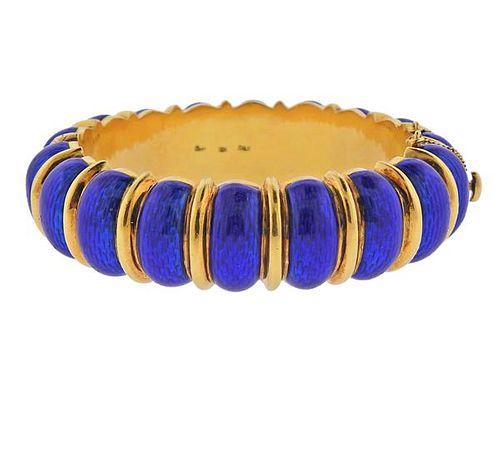 Cartier 18k Gold Blue Enamel Bangle Bracelet
