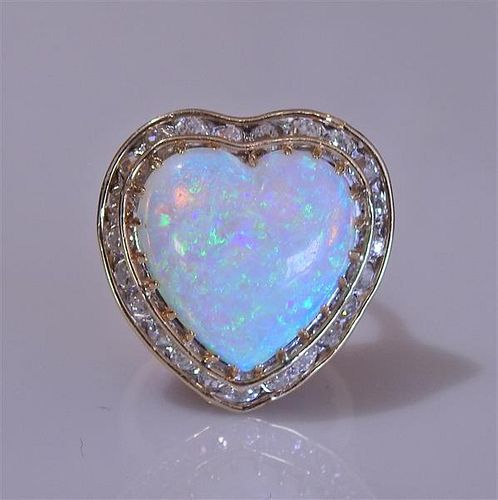 14K Gold Diamond Heart Opal Ring