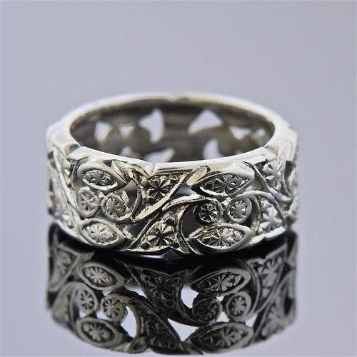 Mid Century Platinum Band Ring