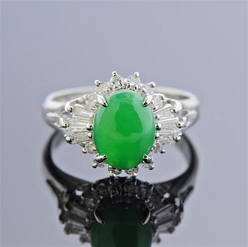 Platinum 1.50ct Jade Diamond Cocktail Ring