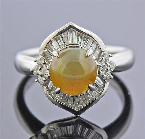 Platinum Diamond Cat's Eye Ring