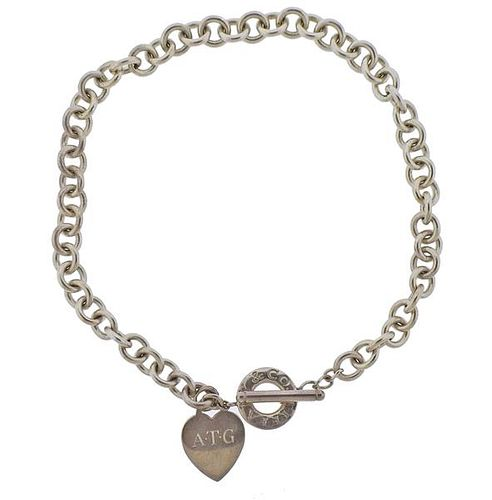 Tiffany & Co Silver Heart Tag Toggle Necklace