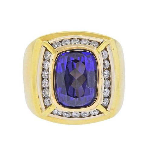 9.91ct Tanzanite Diamond 18K Gold Ring
