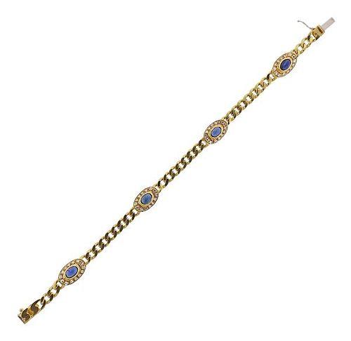 18k Gold Diamond Sapphire Bracelet