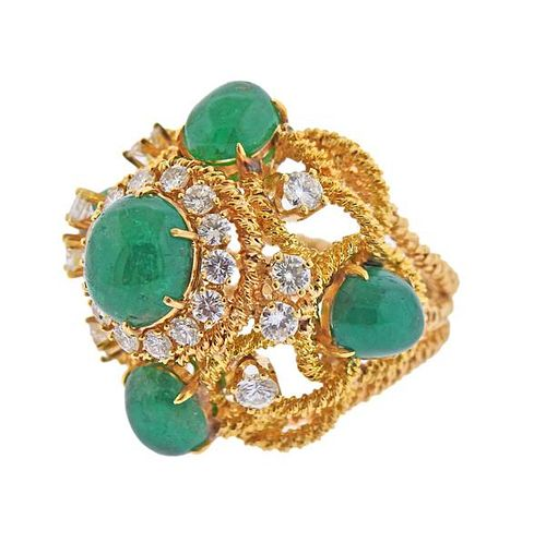 18K Gold Diamond Emerald Cocktail Dome Ring