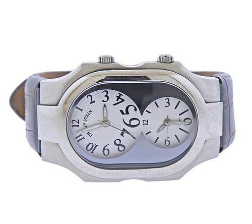 Philip Stein Teslar Dual Time Steel Watch