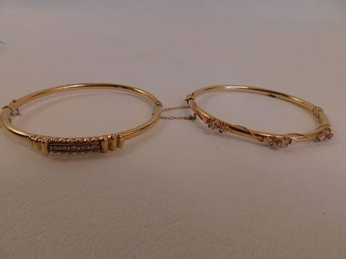 2 GOLD & DIAMOND BRACELETS