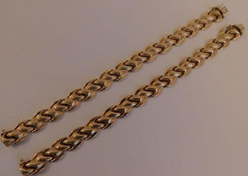 PAIR 14K GOLD BRACELETS
