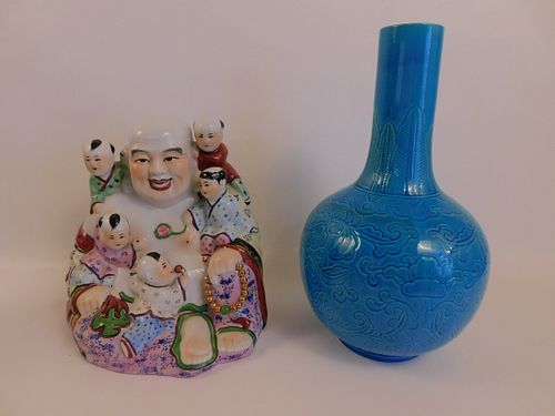 CHINESE BLUE VASE & BUDDHA