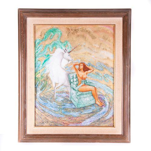 """Unicornio con dama desnuda, Siglo XX. Técnica mixta sobre vidrio. Con aplicaciones de hoja de oro y papel aluminio. Firmado """"Miguel H."""