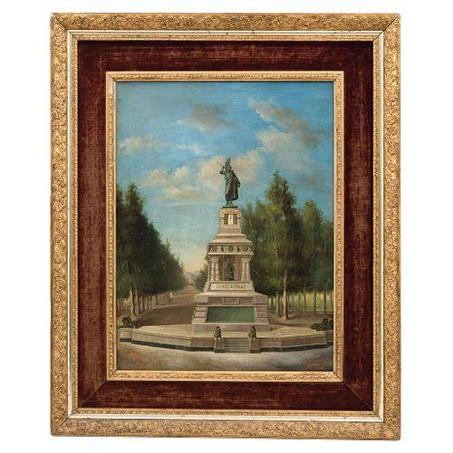 "MONUMENTO A CUAUHTÉMOC MÉXICO, PRINCIPIOS DEL SIGLO XX  Óleo sobre tela Firmado ""A. Herrera"" 58 x 44cm."
