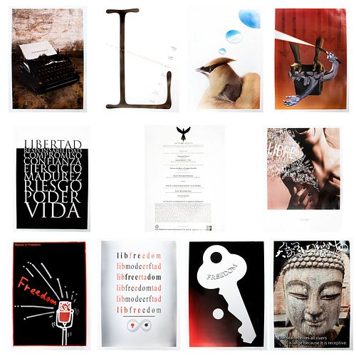 """Lote de catálogo y carpeta de carteles """"Voces en libertad"""" de la Undécima Bienal Internacional del Cartel en México. 2010."""