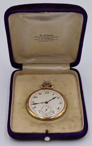 JEWELRY. Henry Sandoz 18kt Gold Pocket Watch.
