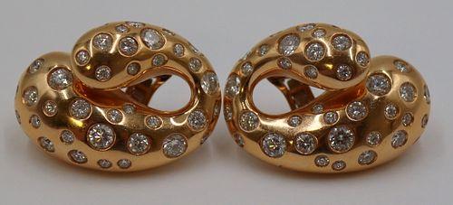 JEWELRY. Pr of de Grisogono 18kt Gold and Diamond