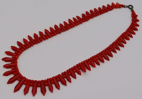 JEWELRY. Graduated Carved Coral Necklace.