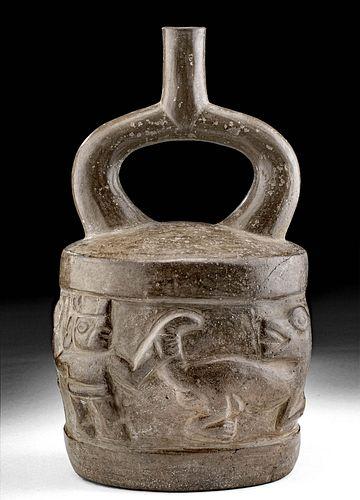 Moche Pottery Stirrup Vessel with Jaguar Hunting Scene