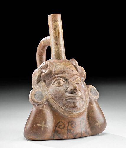 Moche Polychrome Portrait Vessel w/ Avian Headdress