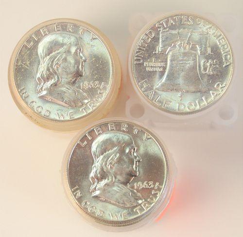 Three Rolls of Franklin Silver Half Dollars, 1963, AU; 1963 D, AU.