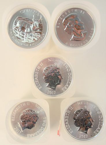 Five Rolls of 20 Canadian Maple Leafs, 1 oz. each, 100 t.oz. total.
