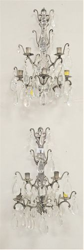 Pair of Five Light Pewter Sconces, having glass prisms, height 20 inches.