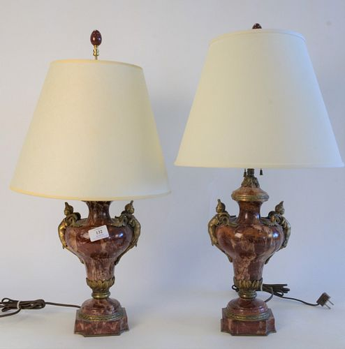 Pair Rouge Marble Brass Mounted Urns, made into table lamps, having figural mounts, urn height 13 1/2 inches.