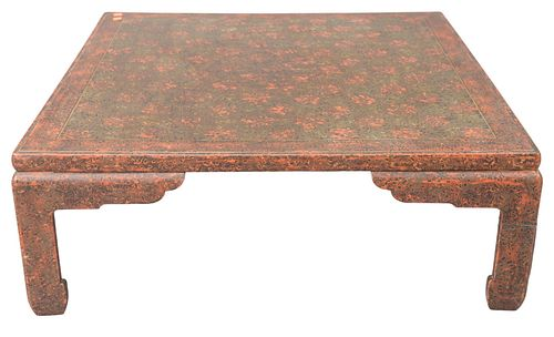 """Chinese Style Coffee Table, height 13 inches, top 36"""" x 36""""."""