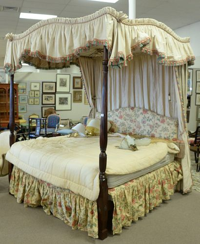 Custom Made King Size Canopy Bed, with Bennison upholstery and custom Epoc mattress and box spring, with brass retractable lamps mounted on posts, hei
