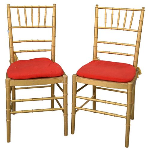 Set of Eight Faux Bamboo Chairs, gold with red slip seats, seat height 17 1/2 inches, total height 36.