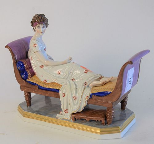 Chelsea Porcelain Recamier Figure, and reclining woman marked with gold anchor, height 7 inches, length 9 inches.