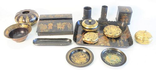 Large group of Black Lacquer, to include a papier mache and chinoiserie lap desk, length 10 inches; two papier mache boxes in form of turtles; a papie