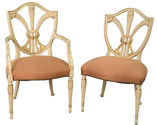 "Set of Eight Shield Back Dining Chairs, with Blume design in white and gold trim, height 39 1/2""."