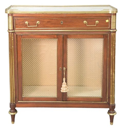 Louis XVI Cabinet, with brass trimmed marble top, over drawer, over two grill work drawers, set on turned legs, 18th Century, height 40 1/2 inches, wi