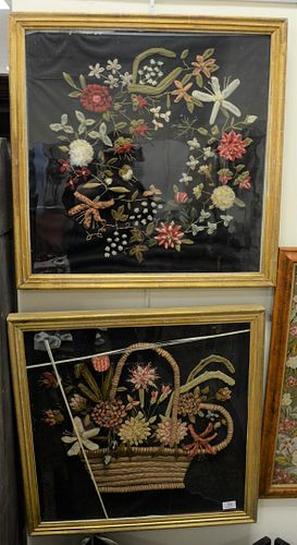 """Pair of Shadow Box Framed Woolworks, each in 19th Century frames, each 26 1/2"""" x 26 1/2""""."""