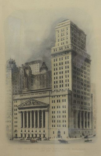 """Two Piece Lot, to include Sidney Lucas and Roger Varin """"Wall Street in 1836"""", hand colored etching on paper, signed in pencil by Roger Varin, along wi"""