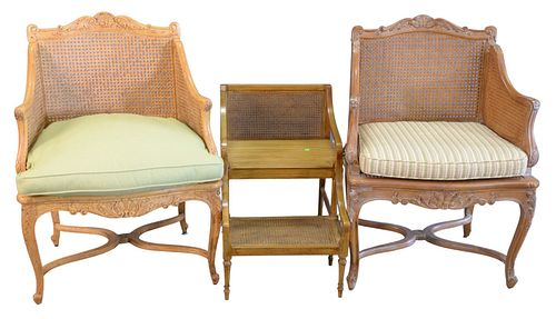 Three Piece Lot, to include pair of Louis XV style armchairs, with caning and 2 step stools with caning.