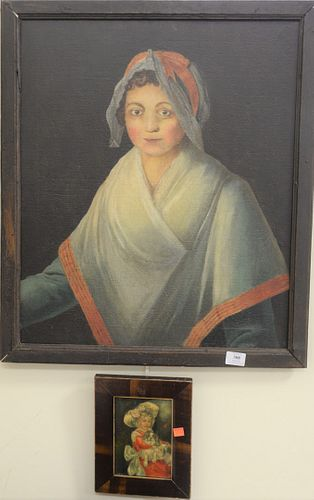 Two Piece Group, to include one large portrait, possibly French, oil on canvas, unsigned, along with a small painting of a girl with a King Charles Sp