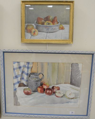 Three Framed Still Lifes, to include Continental School, early 20th Century, still life with grapes and a pomegranate, oil on panel, monogrammed indis